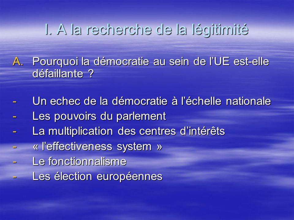 I. A la recherche de la légitimité A.Pourquoi la démocratie au sein de lUE est-elle défaillante ? -Un echec de la démocratie à léchelle nationale -Les