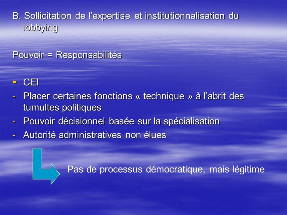 B. Sollicitation de lexpertise et institutionnalisation du lobbying Pouvoir = Responsabilités CEI CEI -Placer certaines fonctions « technique » à labr