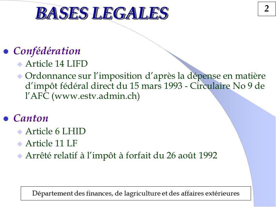 3 Département des finances, de lagriculture et des affaires extérieures CONDITIONS SUBJECTIVES l Naissance du droit à limposition Domicile ou séjour pour la première fois en Suisse.