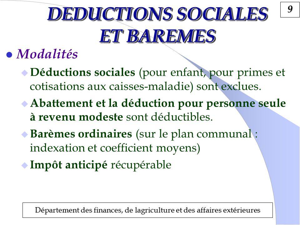 9 Département des finances, de lagriculture et des affaires extérieures DEDUCTIONS SOCIALES ET BAREMES l Modalités Déductions sociales (pour enfant, pour primes et cotisations aux caisses-maladie) sont exclues.