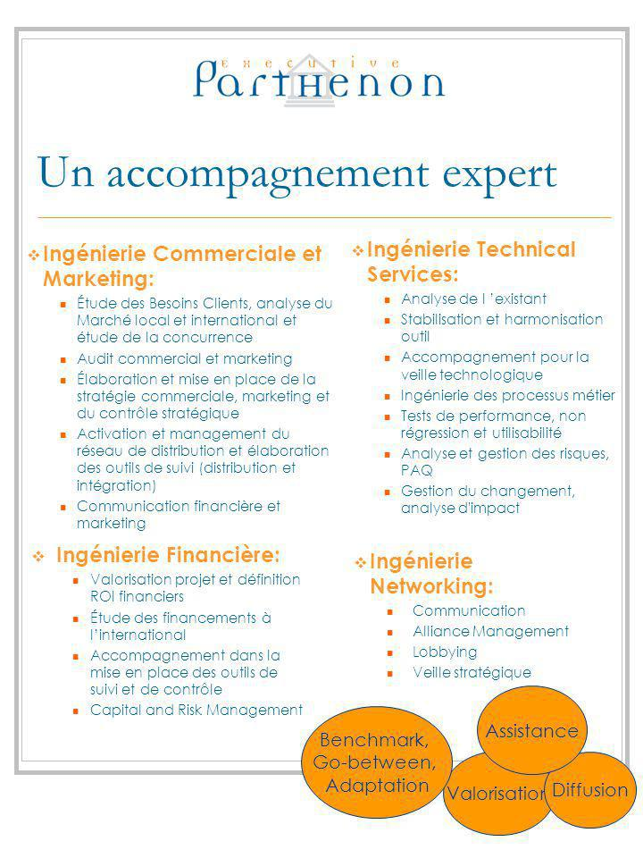 Un accompagnement expert Ingénierie Technical Services: Analyse de l existant Stabilisation et harmonisation outil Accompagnement pour la veille techn