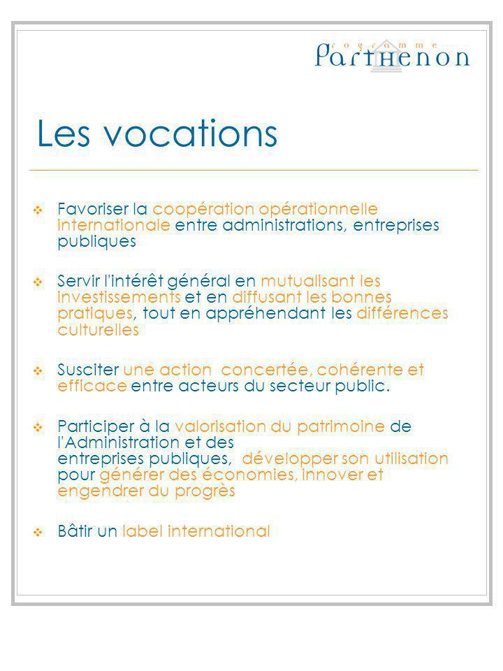 Les vocations Favoriser la coopération opérationnelle internationale entre administrations, entreprises publiques Servir l'intérêt général en mutualis