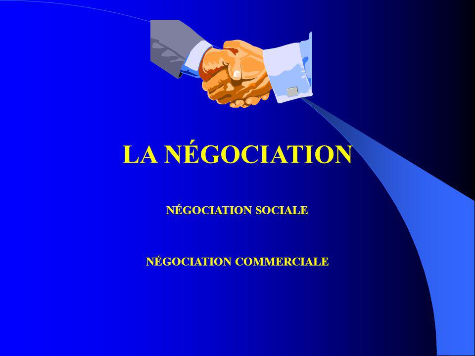 LA NÉGOCIATION NÉGOCIATION SOCIALE NÉGOCIATION COMMERCIALE Les différents types de la négociation Conflictuels Coopératifs Introduction Phase de prépa