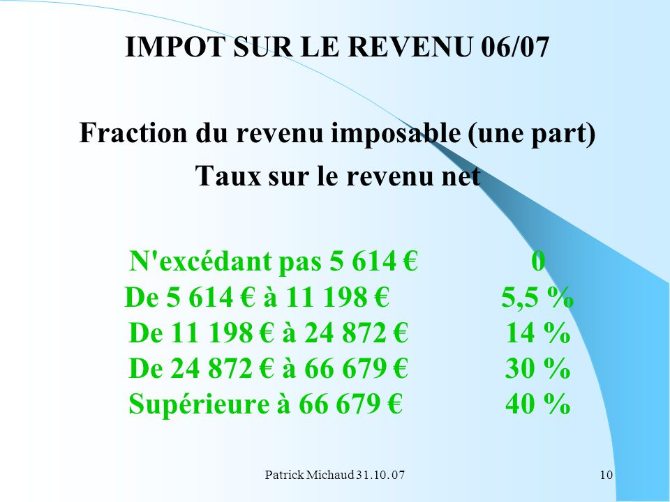 Patrick Michaud 31.10. 0710 IMPOT SUR LE REVENU 06/07 Fraction du revenu imposable (une part) Taux sur le revenu net N'excédant pas 5 614 0 De 5 614 à