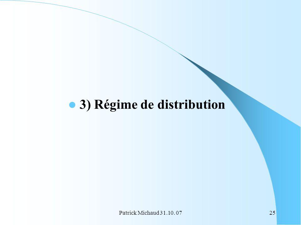 Patrick Michaud 31.10. 0725 3) Régime de distribution