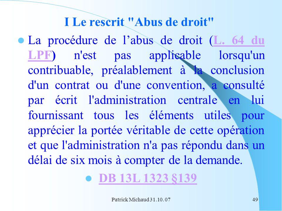 Patrick Michaud 31.10. 0749 I Le rescrit