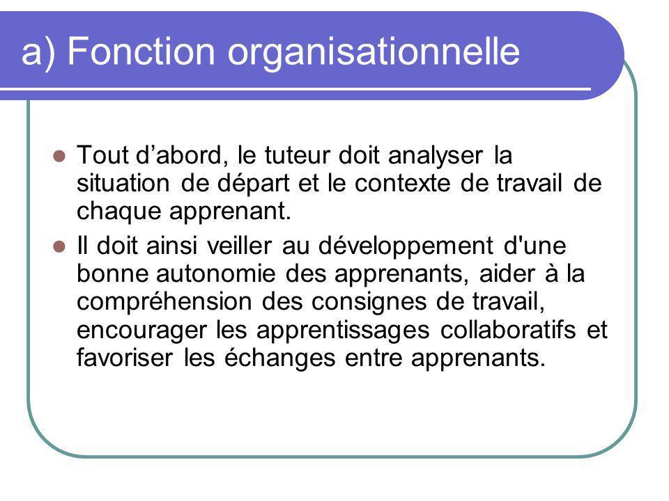 Fonction organisationnelle (suite) Le tuteur doit veiller au respect du planning, cest à dire de la gestion du temps et du calendrier.