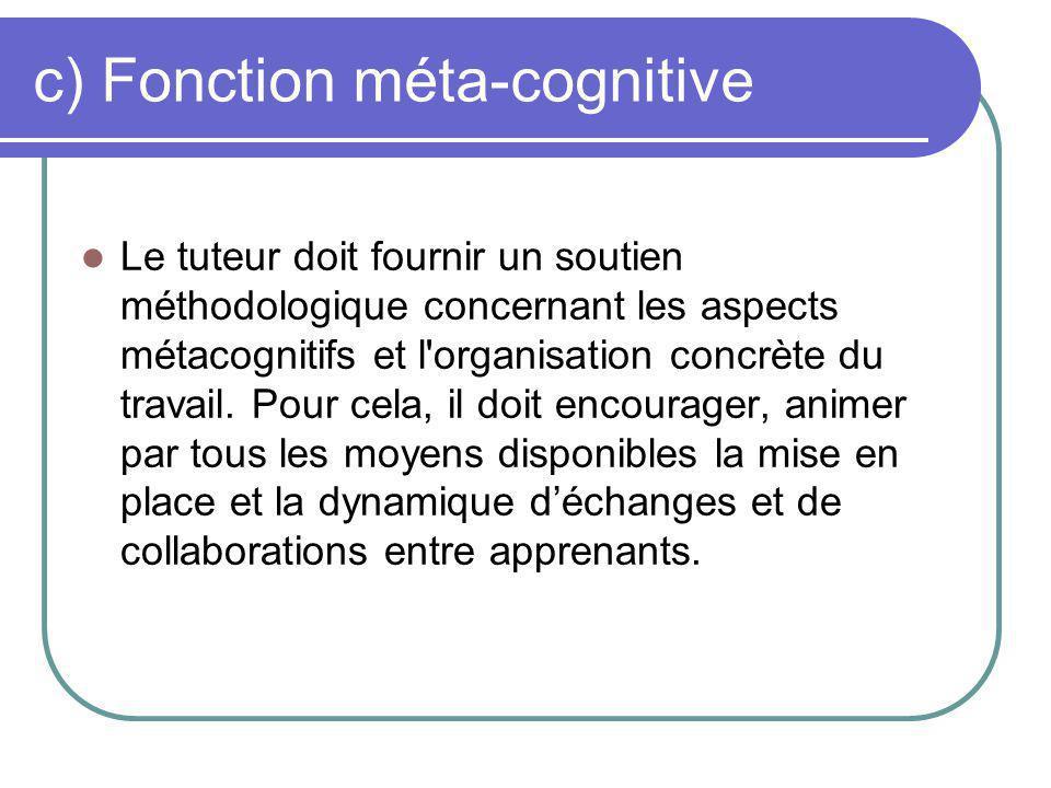 Fonction méta-cognitive (suite) Il doit également jouer le rôle de médiateur et de modérateur des différents groupes de travail.
