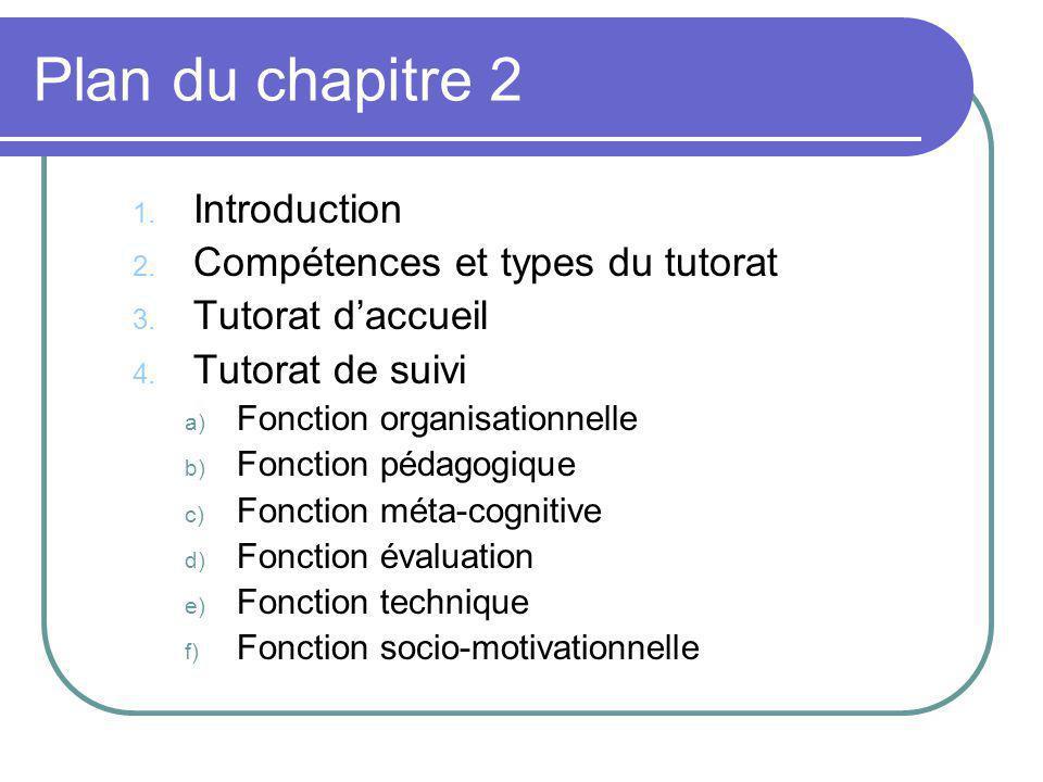 Plan du chapitre 2 1. Introduction 2. Compétences et types du tutorat 3. Tutorat daccueil 4. Tutorat de suivi a) Fonction organisationnelle b) Fonctio