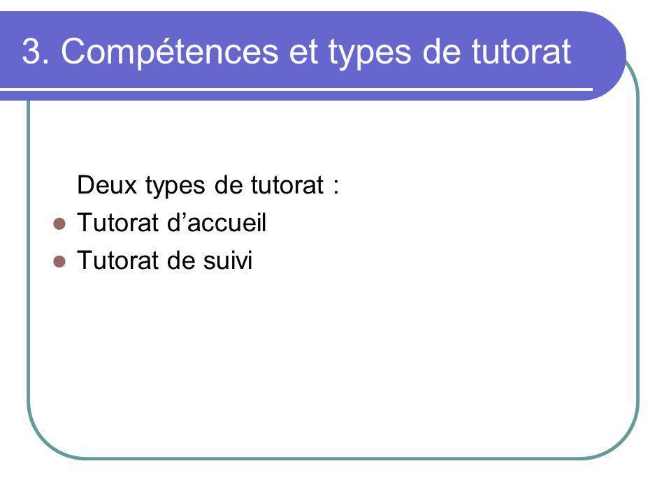 3. Compétences et types de tutorat Deux types de tutorat : Tutorat daccueil Tutorat de suivi