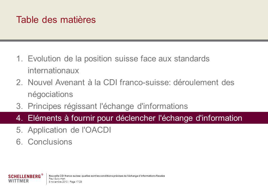 Nouvelle CDI franco-suisse: quelles sont les conditions précises de l'échange d'informations fiscales Paul Gully-Hart 9 novembre 2010 / Page 17/29 Tab