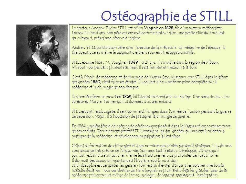 Le docteur Andrew Taylor STILL est né en Virginie en 1828, fils d'un pasteur méthodiste. Lorsquil a neuf ans, son père est envoyé comme pasteur dans u