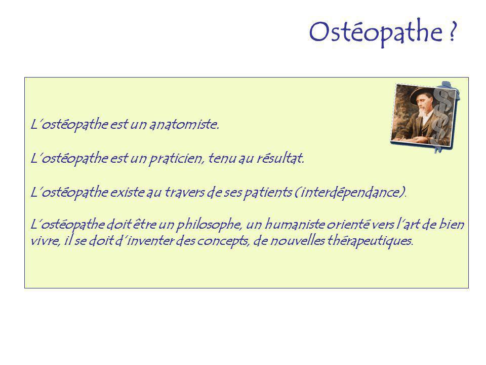 Lostéopathe est un anatomiste. Lostéopathe est un praticien, tenu au résultat. Lostéopathe existe au travers de ses patients (interdépendance). Lostéo