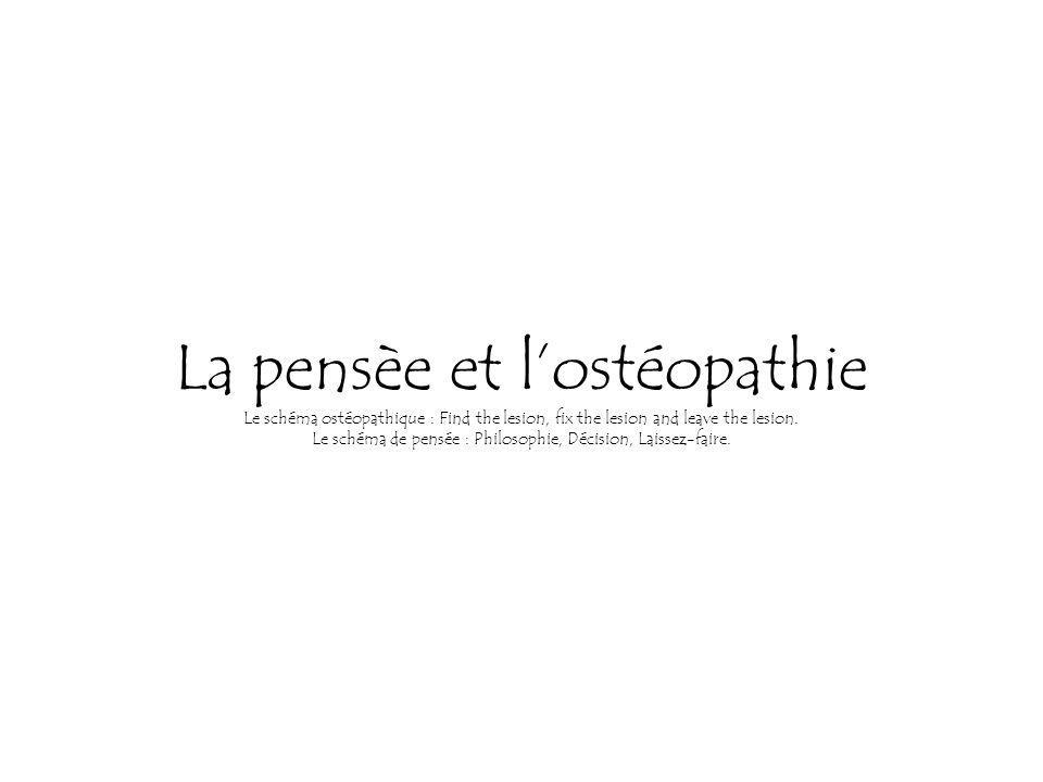 La pensèe et lostéopathie Le schéma ostéopathique : Find the lesion, fix the lesion and leave the lesion.