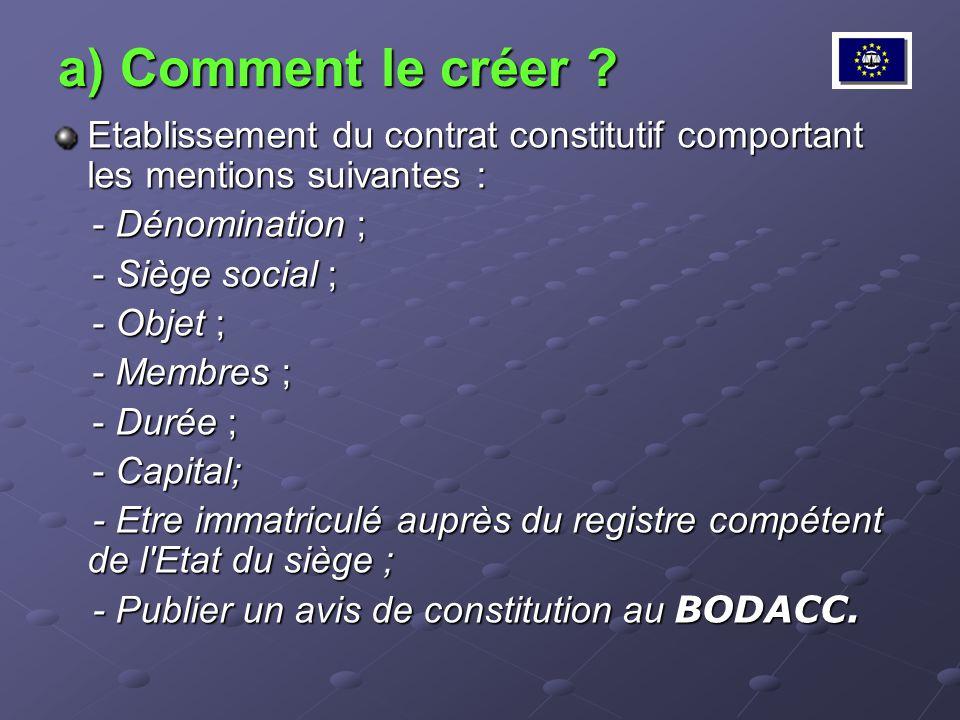 a) Comment le créer ? Etablissement du contrat constitutif comportant les mentions suivantes : - Dénomination ; - Dénomination ; - Siège social ; - Si