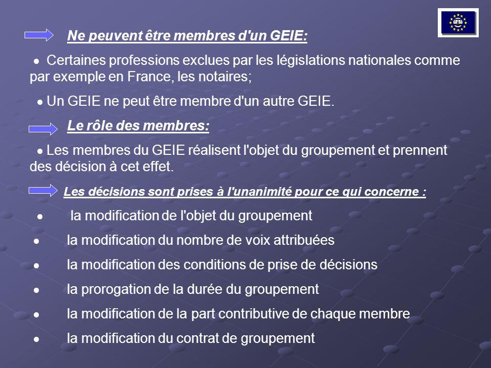 Ne peuvent être membres d'un GEIE: Certaines professions exclues par les législations nationales comme par exemple en France, les notaires; Un GEIE ne