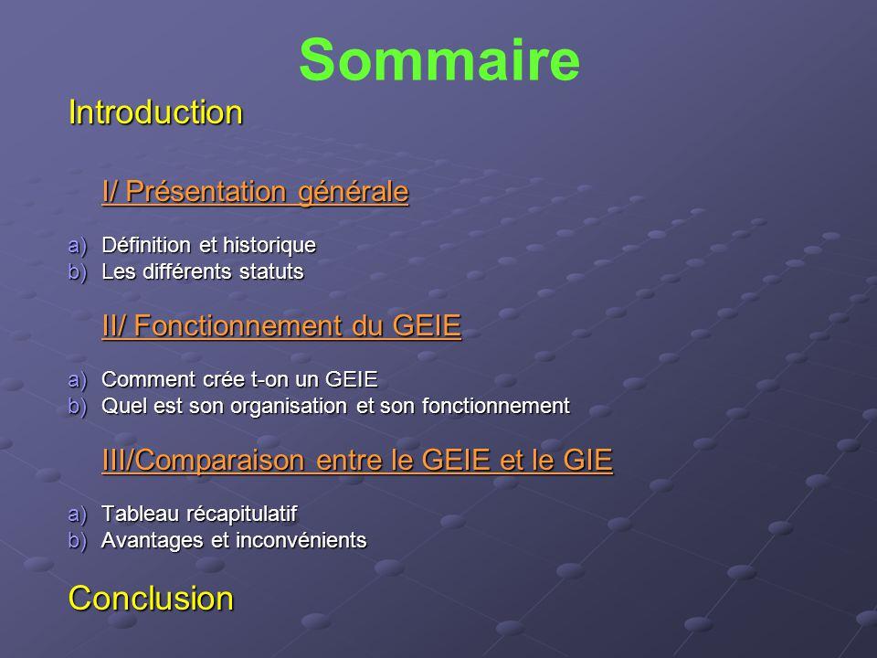 Sommaire Introduction I/ Présentation générale a)Définition et historique b)Les différents statuts II/ Fonctionnement du GEIE a)Comment crée t-on un G
