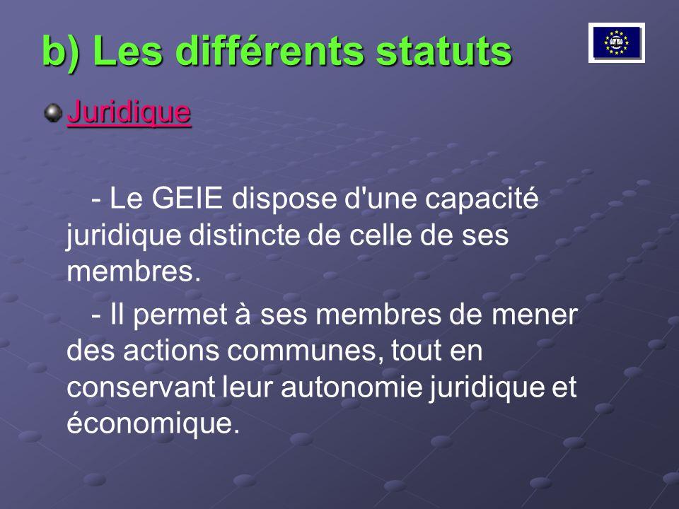 b) Les différents statuts Juridique - Le GEIE dispose d'une capacité juridique distincte de celle de ses membres. - Il permet à ses membres de mener d