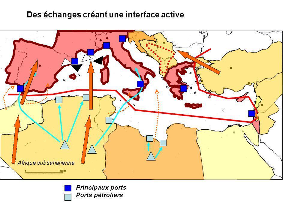 Des échanges créant une interface active Afrique subsaharienne Principaux ports Ports pétroliers