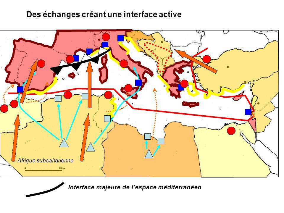 Des échanges créant une interface active Afrique subsaharienne Interface majeure de lespace méditerranéen