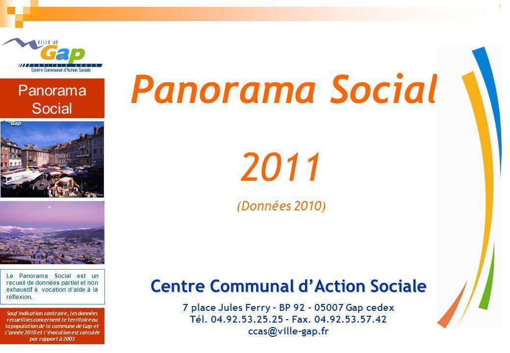 Panorama Social Sauf indication contraire, les données recueillies concernent le territoire ou la population de la commune de Gap et lannée 2010 et lévolution est calculée par rapport à 2003 1 Le Panorama Social est un recueil de données partiel et non exhaustif à vocation daide à la réflexion.