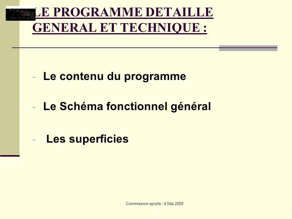 Commission sports - 4 Mai 2009 LE PROGRAMME DETAILLE GENERAL ET TECHNIQUE : - Le contenu du programme - Le Schéma fonctionnel général - Les superficies