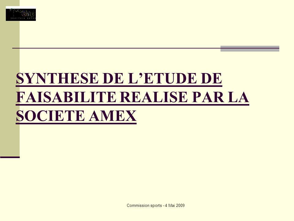 Commission sports - 4 Mai 2009 SYNTHESE DE LETUDE DE FAISABILITE REALISE PAR LA SOCIETE AMEX