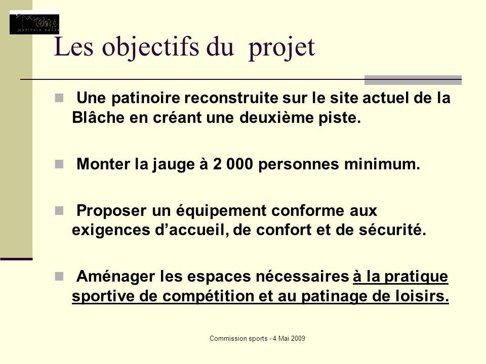 Commission sports - 4 Mai 2009 Les objectifs du projet Une patinoire reconstruite sur le site actuel de la Blâche en créant une deuxième piste.
