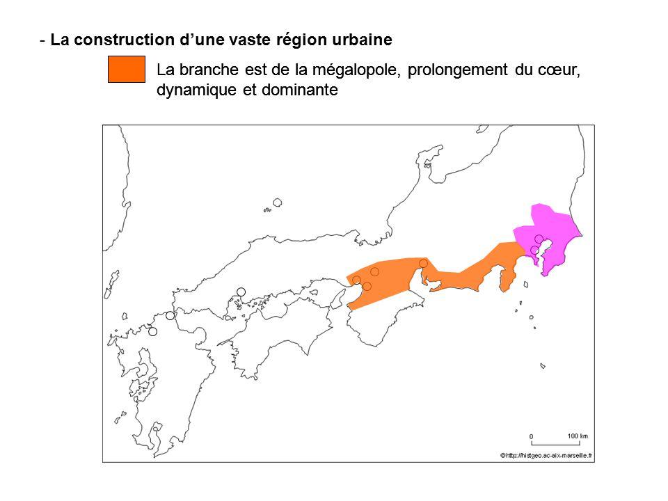 - La construction dune vaste région urbaine La branche est de la mégalopole, prolongement du cœur, dynamique et dominante La branche est de la mégalop