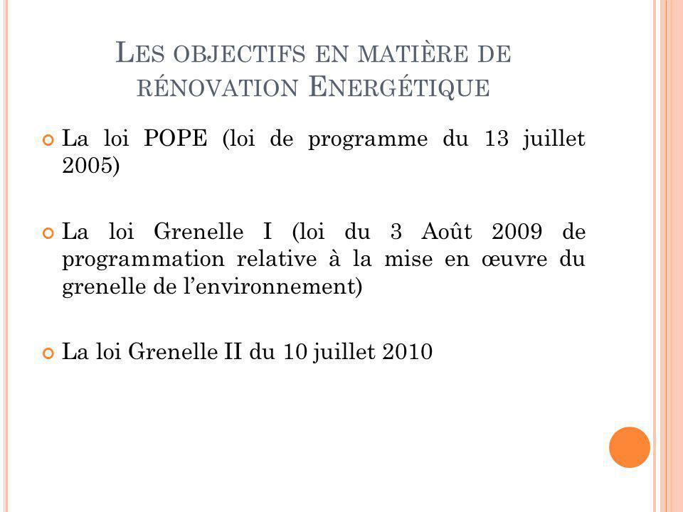 L ES OBJECTIFS EN MATIÈRE DE RÉNOVATION E NERGÉTIQUE La loi POPE (loi de programme du 13 juillet 2005) La loi Grenelle I (loi du 3 Août 2009 de progra