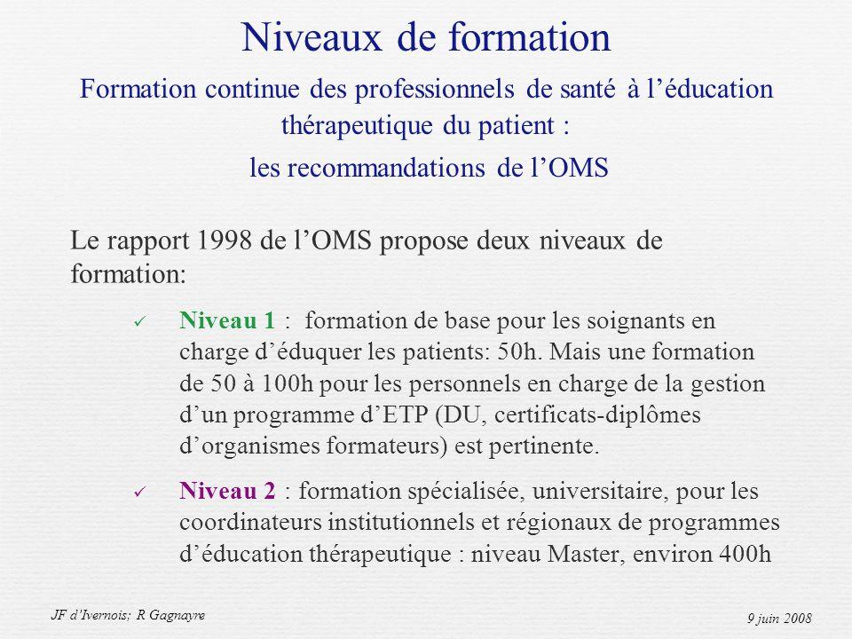 JF dIvernois; R Gagnayre 9 juin 2008 Niveaux de formation Formation continue des professionnels de santé à léducation thérapeutique du patient : les recommandations de lOMS Le rapport 1998 de lOMS propose deux niveaux de formation: Niveau 1 : formation de base pour les soignants en charge déduquer les patients: 50h.