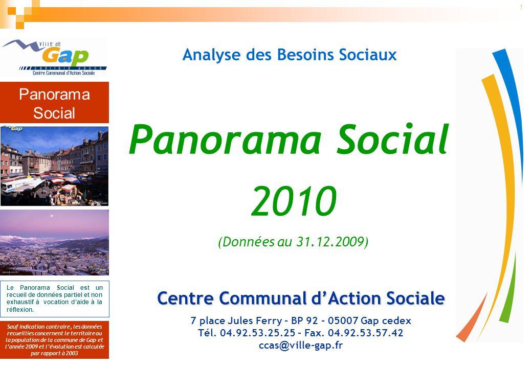 Panorama Social Sauf indication contraire, les données recueillies concernent le territoire ou la population de la commune de Gap et lannée 2009 et lévolution est calculée par rapport à 2003 2 Le Panorama Social est un recueil de données partiel et non exhaustif à vocation daide à la réflexion.