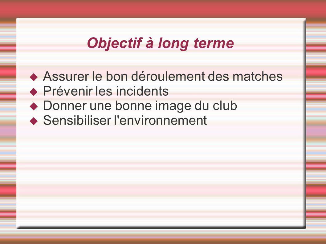 Objectif à long terme Assurer le bon déroulement des matches Prévenir les incidents Donner une bonne image du club Sensibiliser l'environnement