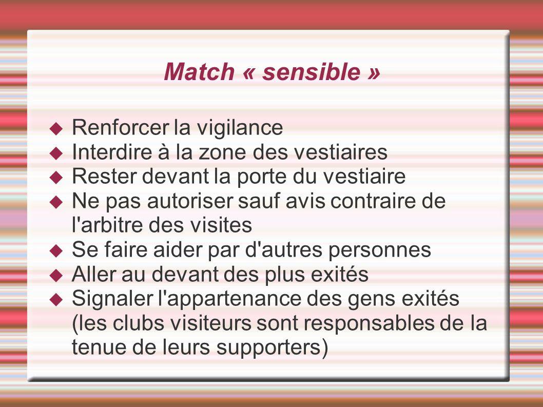 Match « sensible » Renforcer la vigilance Interdire à la zone des vestiaires Rester devant la porte du vestiaire Ne pas autoriser sauf avis contraire