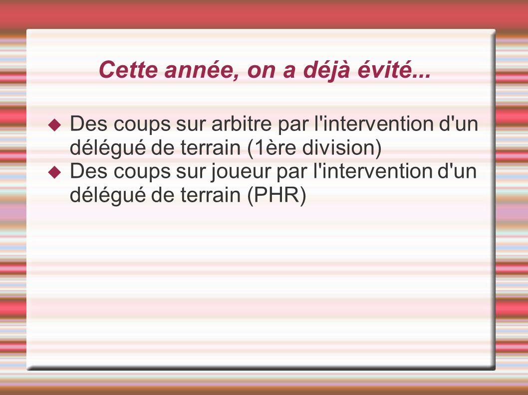 Match sensible (suite) En cas d incident ou de comportement très chaud = Avertir la gendarmerie Prévenir le Président ou vice président pour envisager un dépôt de plainte