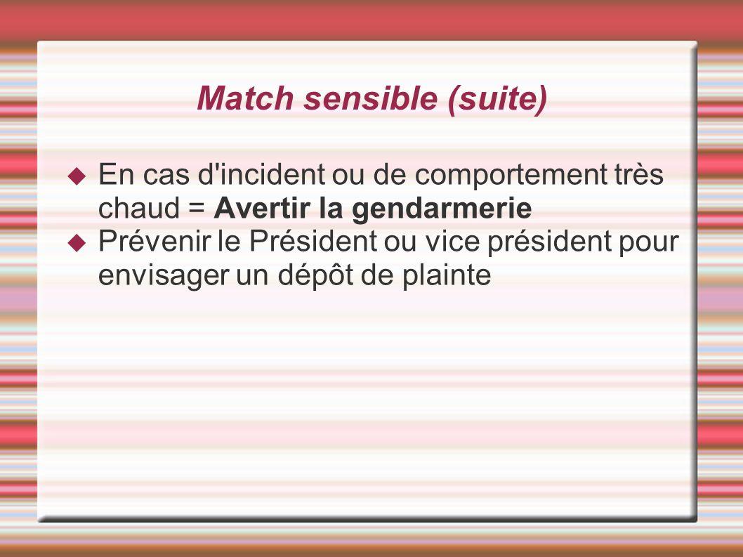 Match sensible (suite) En cas d'incident ou de comportement très chaud = Avertir la gendarmerie Prévenir le Président ou vice président pour envisager