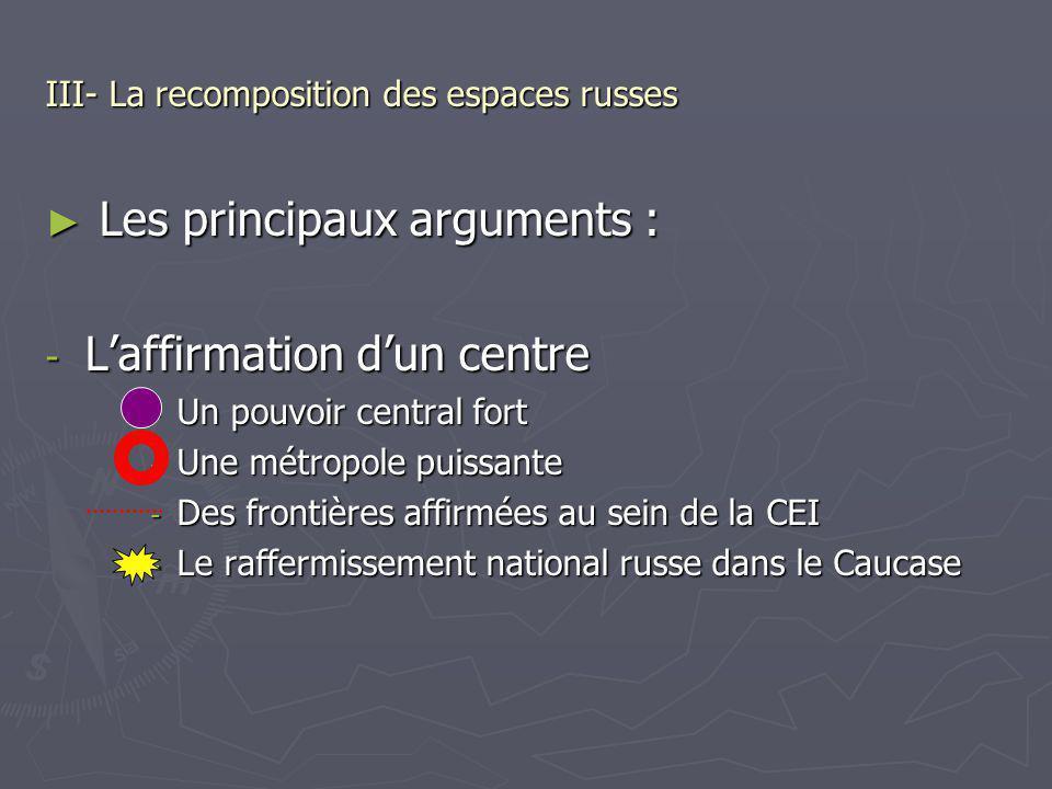 III- La recomposition des espaces russes Les principaux arguments : Les principaux arguments : - Laffirmation dun centre - Un pouvoir central fort - U