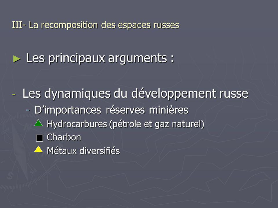III- La recomposition des espaces russes Les principaux arguments : Les principaux arguments : - Les dynamiques du développement russe -Dimportances r