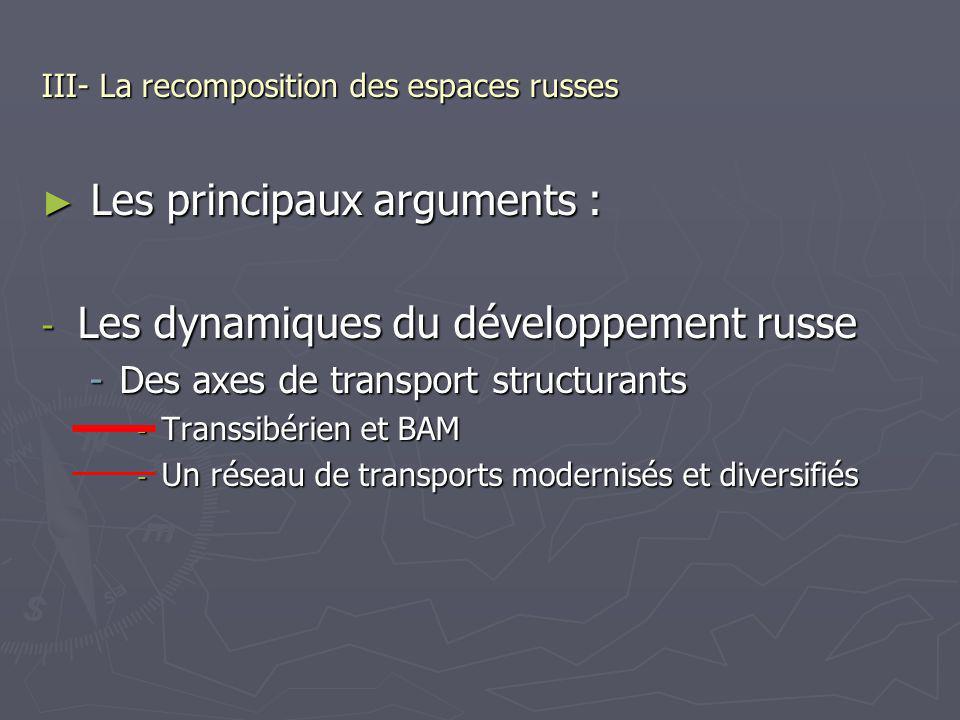 III- La recomposition des espaces russes Les principaux arguments : Les principaux arguments : - Les dynamiques du développement russe -Des axes de tr