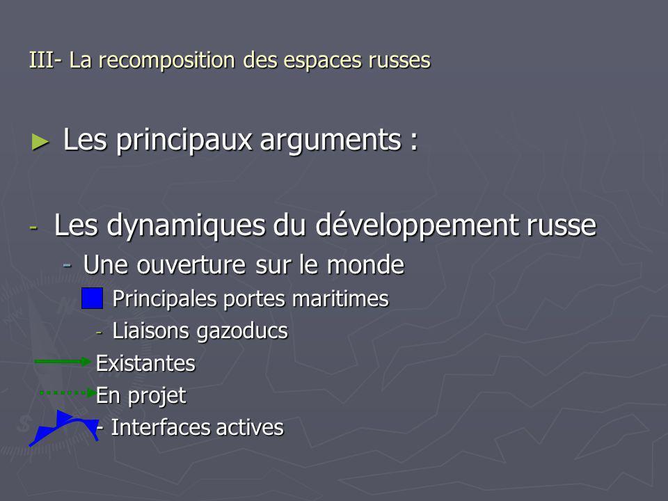 III- La recomposition des espaces russes Les principaux arguments : Les principaux arguments : - Les dynamiques du développement russe -Une ouverture