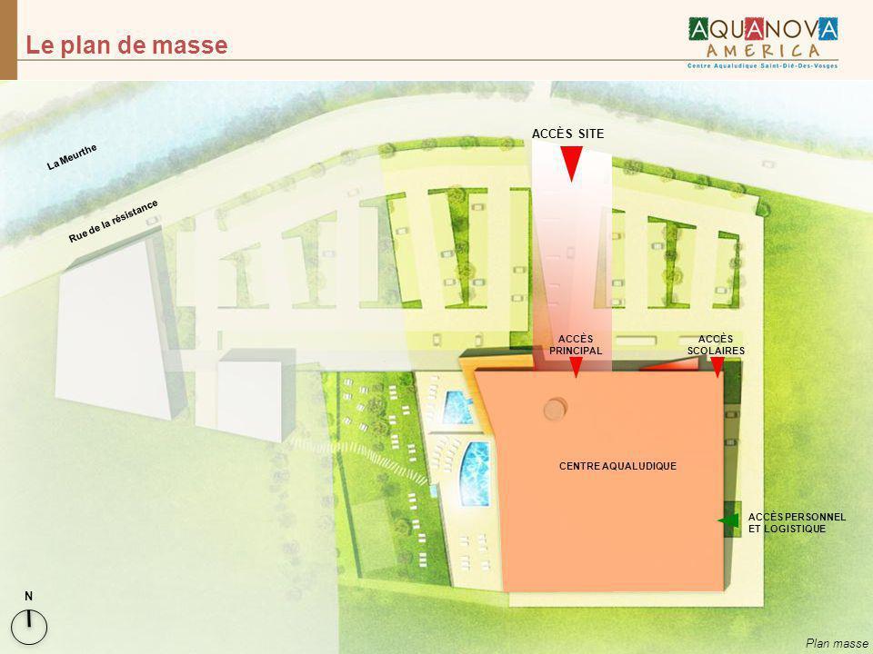 Le plan de masse Plan masse N CENTRE AQUALUDIQUE ACCÈS PERSONNEL ET LOGISTIQUE ACCÈS SCOLAIRES La Meurthe Rue de la résistance ACCÈS SITE ACCÈS PRINCI