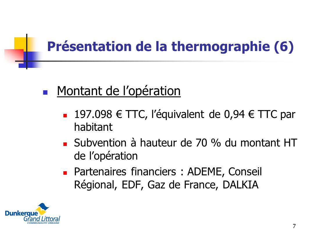 7 Présentation de la thermographie (6) Montant de lopération 197.098 TTC, léquivalent de 0,94 TTC par habitant Subvention à hauteur de 70 % du montant