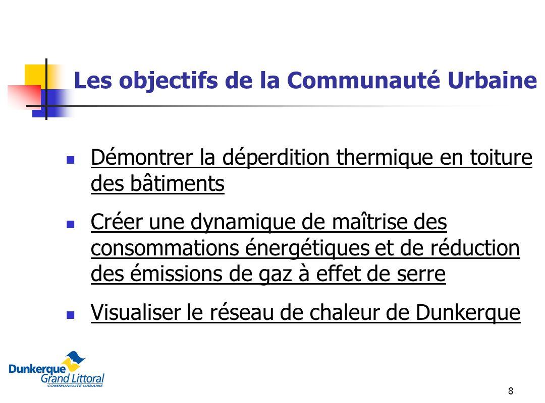 8 Les objectifs de la Communauté Urbaine Démontrer la déperdition thermique en toiture des bâtiments Créer une dynamique de maîtrise des consommations