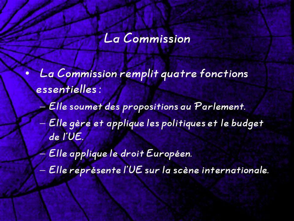 La Commission La Commission remplit quatre fonctions essentielles : – Elle soumet des propositions au Parlement. – Elle gère et applique les politique
