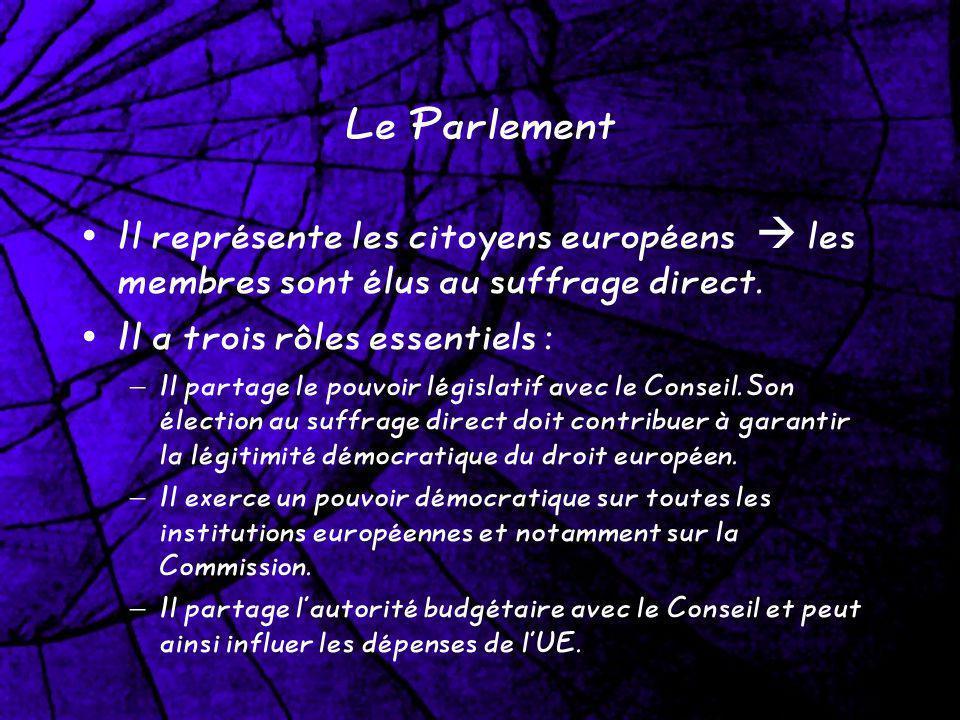 Le Parlement Il représente les citoyens européens les membres sont élus au suffrage direct. Il a trois rôles essentiels : – Il partage le pouvoir légi