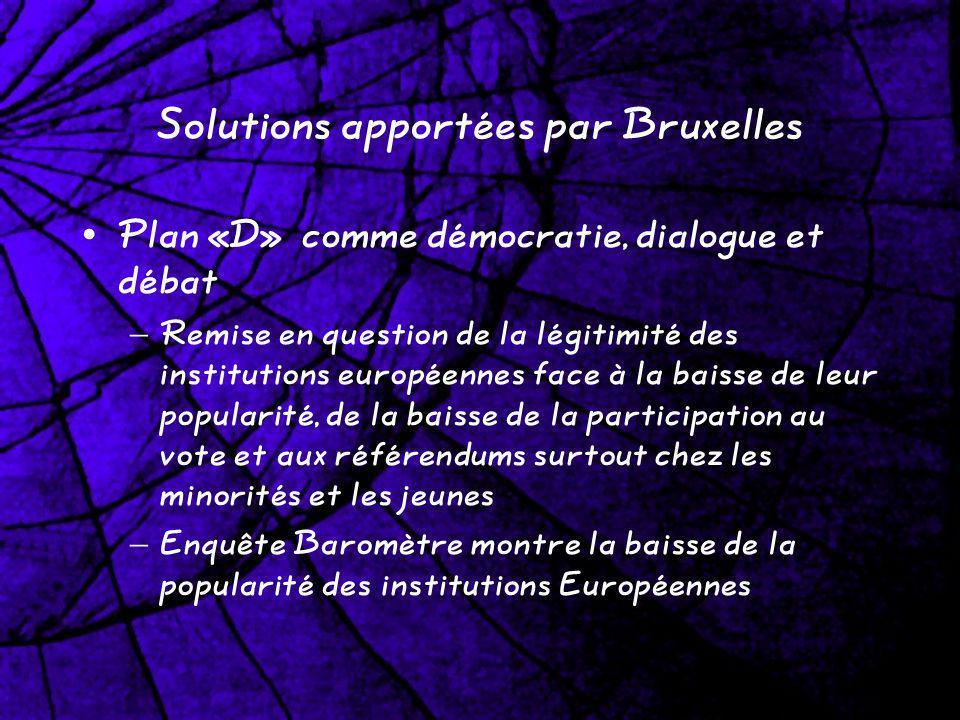 Solutions apportées par Bruxelles Plan «D» comme démocratie, dialogue et débat – Remise en question de la légitimité des institutions européennes face