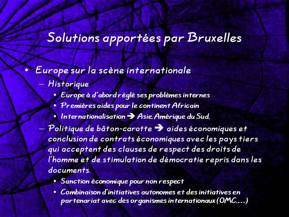 Solutions apportées par Bruxelles Europe sur la scène internationale – Historique Europe à d'abord réglé ses problèmes internes Premières aides pour l