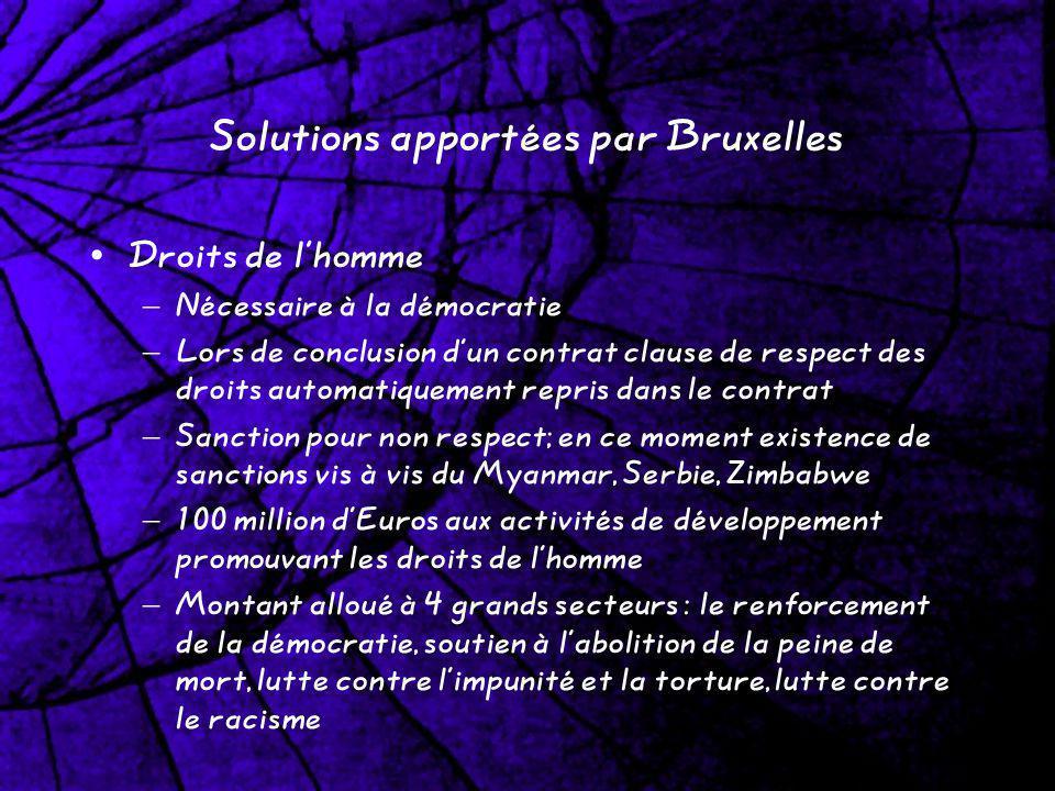 Solutions apportées par Bruxelles Droits de lhomme – Nécessaire à la démocratie – Lors de conclusion dun contrat clause de respect des droits automati