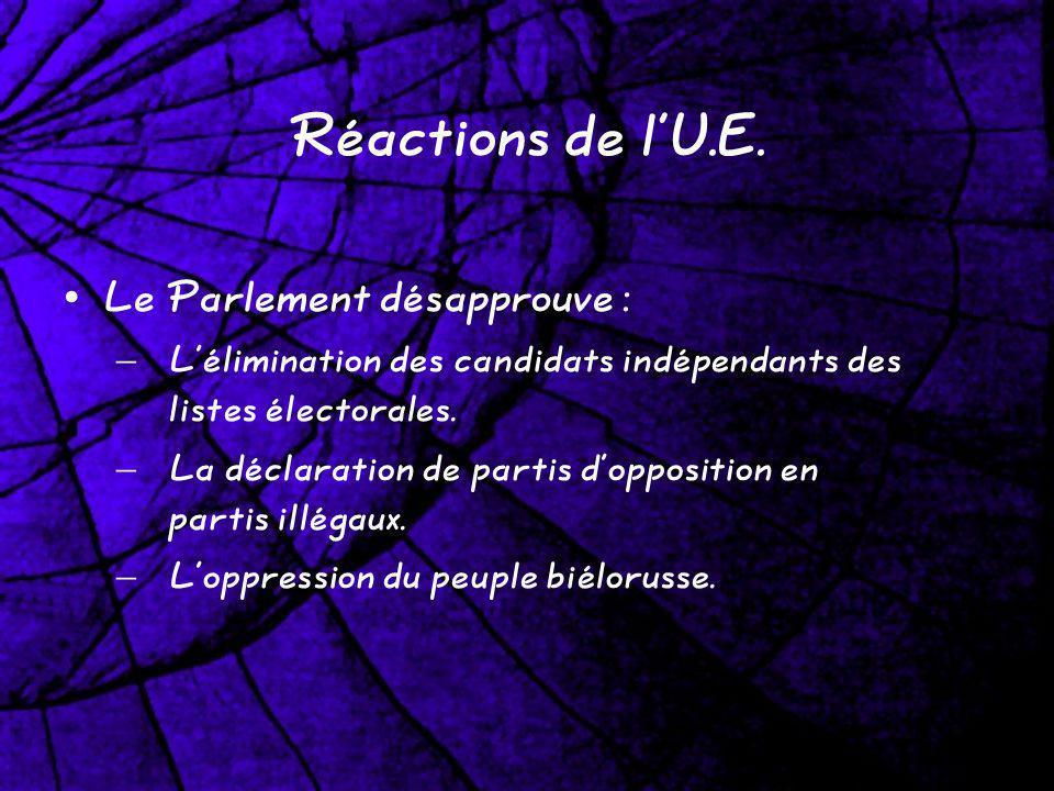Réactions de lU.E. Le Parlement désapprouve : – Lélimination des candidats indépendants des listes électorales. – La déclaration de partis dopposition