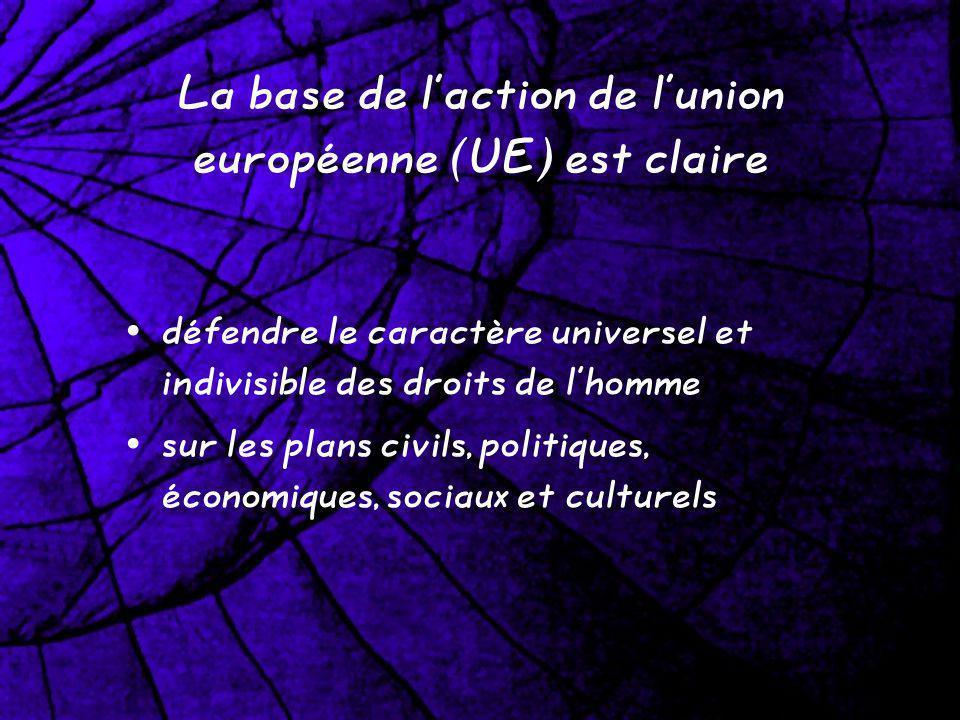 La base de laction de lunion européenne (UE) est claire défendre le caractère universel et indivisible des droits de lhomme sur les plans civils, politiques, économiques, sociaux et culturels